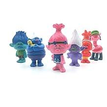 Trolls Figures Set of 6 - 3-Inch-Tall DreamWorks Movie Trolls Poppy, Branch, Biggie, Cooper, DJ Suki, Guy Dimond - Trolls Toys - Trolls PVC Action Figures - Mini Figures for Kids- May Toys