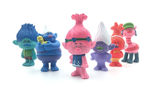 May Toys Set of 6, 3-Inch-Tall DreamWorks Movie Trolls Actio