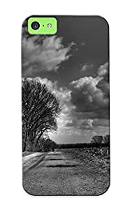 Awesome Case Cover/iphone 5c Defender Case Cover(clouds Landscapes Grayscale Roads Monochrome ) Gift For Christmas