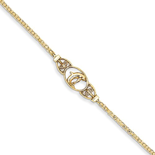 (14K Yellow Gold Polished Dolphin Anklet)