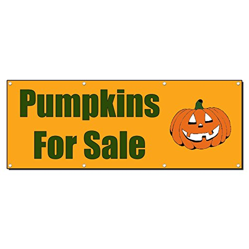 Pumpkins For Sale Halloween Banner Sign 2 Ft X 4 Ft /W 4 Grommets (Halloween Sales Banner)