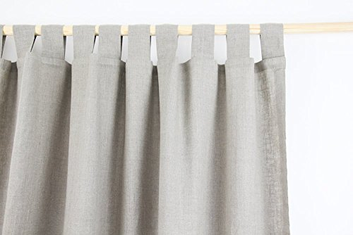 Tab Top Linen Curtain Panel / NATURAL LINEN COLOR / homey style / linen drapes