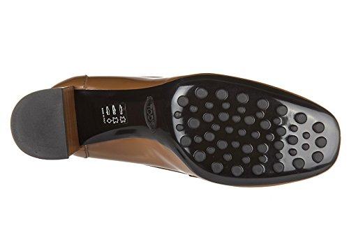 Tod's escarpins chaussures femme à talon en cuir t70 zm maxi doppia t marron