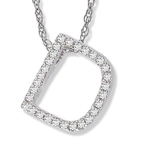 Diamond Initial Pendant D in 1