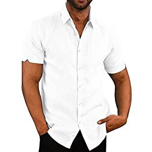 Mens Button Down Shirts Casual Short Sleeve Linen Tops Cotton Lightweight Fishing Tees Spread Collar Plain Shirt
