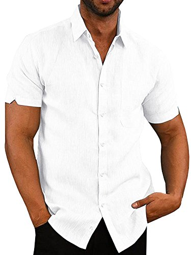 Pengfei Mens Short Sleeve Shirts Button Down Linen Cotton Fishing Tees Spread Collar Plain Summer Shirts White