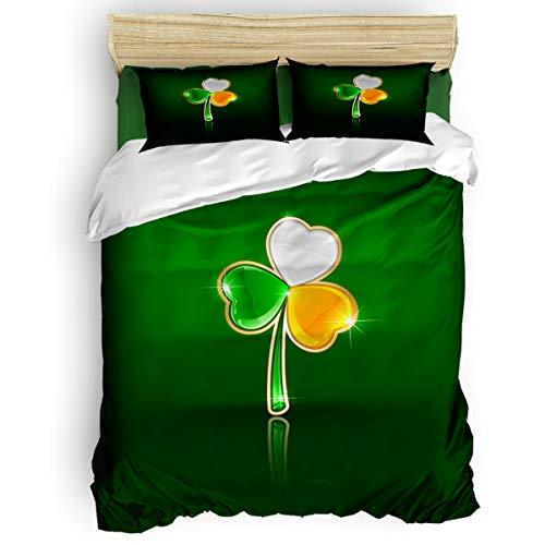 (Fandim Fly Bedding Set King Size, Happy St. Patrick's Day Irish Shamrock,Comforter Cover Sets for All Season)