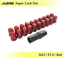 AQM スーパーロックナット M12×P1.5 テーパー角60° レッド スチール製 七角形型 非貫通 盗難防止に 専用アダプター付属 1台分のセット 【AQ-SLN-M12P1.5-01】