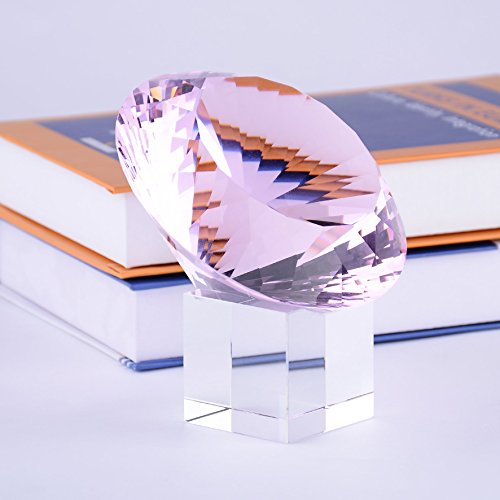 BRLIGHTING Pink Crystal Diamond Paperweight on stand for Office, Lovely Gift for Friends and Family (D120mm / ()