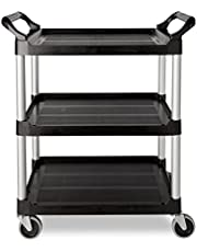 Rubbermaid Commercial Plastic Service Cart, 3 Shelves, 200-Pound Capacity, 37-3/4-Inch Height, 33-5/8-Inch Length X 18-58-Inch Width