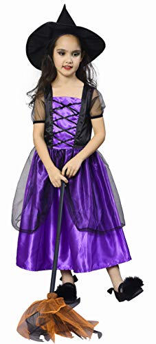 IKALI Girls Witch Costume, Classic Halloween Fancy Dress Up Outfit with Hat -