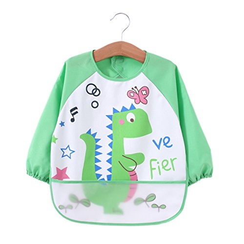 Momloves Cute Baby Toddler Waterproof Sleeved Bib,Water Resistant Baby Bib, 6 Months +, Spend Less Time Cleaning after Meals with Babies or Toddlers, Funny Personalized for Boys & Girls (green)
