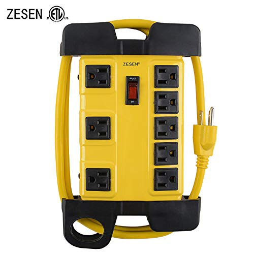 ZESEN 8 Outlet Heavy Duty Metal Workshop Surge Protector Power Strip with Cord Management, 4-Foot Cord, ETL ()