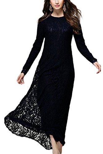 Yacun Women's Lace Maxi Dresses Muslim Kaftan Dress Work Party Gown Black XXL (Yacun Women Dress)