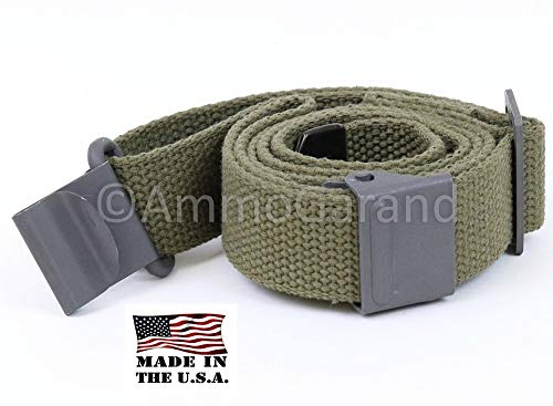 AmmoGarand Green Web Sling M1 Garand US GI Pattern Two Point OD Cotton Made in USA (M14 Rifle Parts)