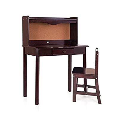 Guidecraft Classic Desk and Chair Set - Espresso: Dark Cherry Kids Wooden Study Table with Hutch and Drawer, Children\'s Furniture: Kitchen & Dining [5Bkhe1100440]