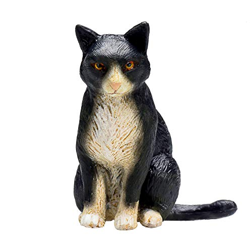 MOJO Cat Sitting Black and White Toy Figure ()