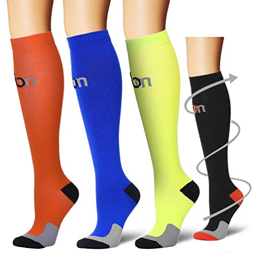 Laite Hebe Compression Socks,(3 Pairs) Compression Sock for Women & Men - Best for Running, Athletic Sports, Crossfit, Flight Travel(Multti-colors5-S/M)