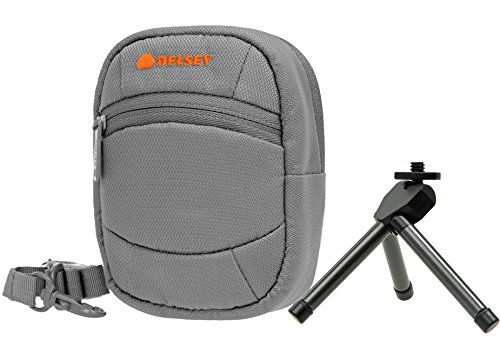(Delsey ODC 5 Grey with Table Tripod Camera Case Bag for Sony CyberShot W830 WX350 180 175/Panasonic Lumix DMC Sz10/Nikon Coolpix/Canon Ixus 285 275 HS A300 A10)
