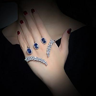 dnswez Unique Design CZ Cubic Zirconia Multiple Finger Ring Palm Cuff Handlet for Women Adjustable Size