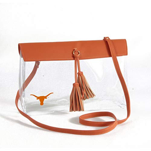 Desden Texas Longhorns Clear Handbag with Logo, Vegan Leather Trim and Tassels