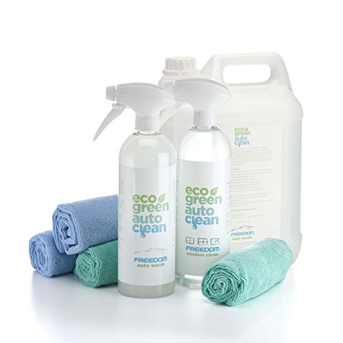 Green Eco Clean (Eco Green Auto Clean Auto Clean Waterless Car Wash - 7-pc Set Basic Bundle with Freedom Auto Wash, Window Cleaner & Microfiber Towels | Eco-Friendly, Plant-Based & Biodegradable Soap For Cars)