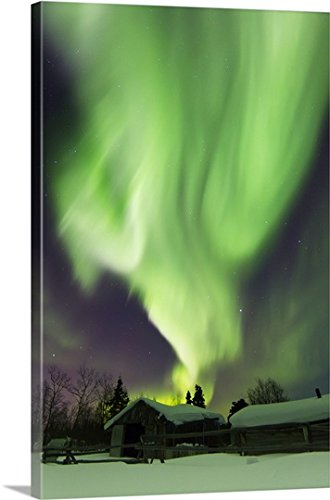 Gallery-Wrapped Canvas entitled Aurora borealis and the Big Dipper above a log cabin at Whitehorse, Yukon, Canada by Joseph Bradley (Big Sky Log)