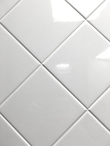 4x4 White Glossy Finish Ceramic Subway Tile Shower Walls Backsplashes (10SF Full Box 80PCS) by Squarefeet Depot