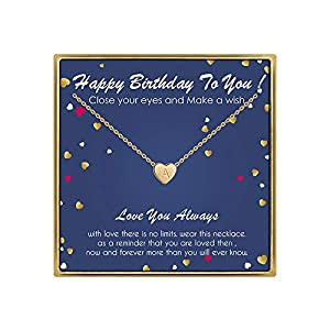 Best Epic Trends 41TznXROr8L._SS300_ Birthday Gifts for Women Initial Necklace - 14K Gold Filled Initial Necklaces for Teen Girls Birthday Necklace Tiny…
