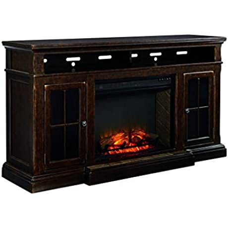 Ashley Furniture Signature Design Roddinton TV Stand 74 In Rectangular Dark Brown
