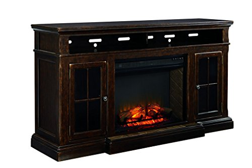 Ashley Furniture Signature Design - Roddinton TV Stand - 74 in - Rectangular - Dark - Fireplace Glass Cottage Screen