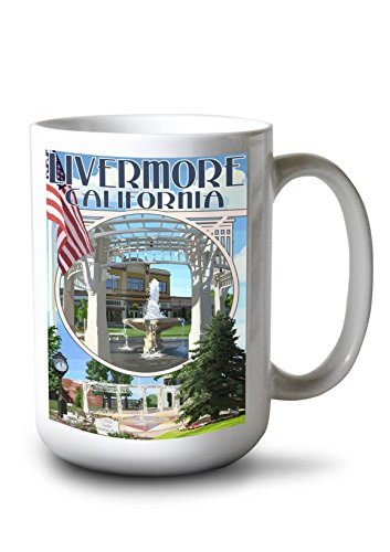 Lantern Press Livermore California Montage 15-ounce White Ceramic Mug