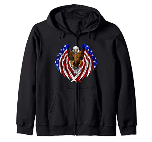 American Eagle Patriot T-Shirt US Flag With Eagle Gift Shirt Zip ()