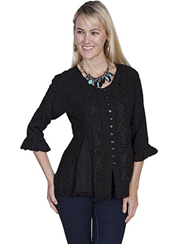 scully-womens-floral-embroidered-ruffled-sleeve-top-black-large