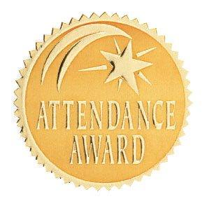 (Hammond & Stephens VA375 Attendance Award Gold Foil Embossed Seal, 1-13/16