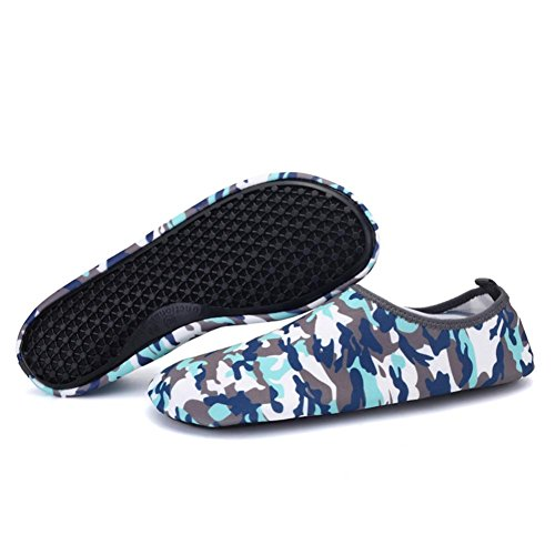HLHN Unisex Barefoot Water Shoes, Quick Drying Breathable Yoga Surf Outdoor Swim Sport Beach Shoes Diving Snorkeling Socks Men Women Camouflage/Print/Stripe camouflage