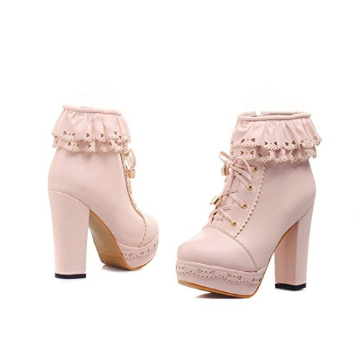 Sweet Platform Womens Boots Office Pink Heel Ankle Lace Lolita PU Susanny up Chunky Party High Hw4q4n