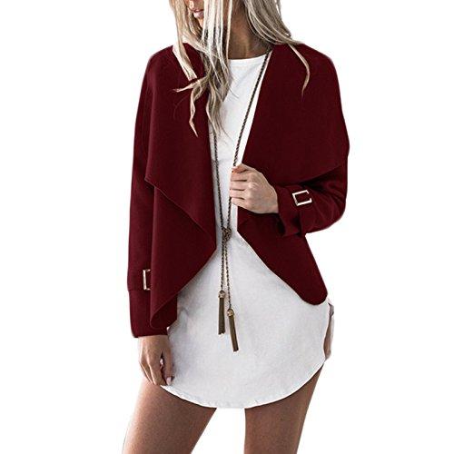 Mode Longues Jacket Lache Petit Manches Blazer Ouvert Blouson Lapel Coat Casual Court Cardigan Veste Manteau Rouge Femmes wtP5Sx