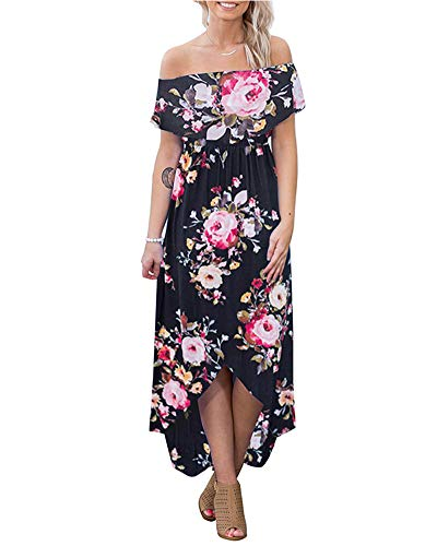 Dresses for Women Summer Off Shoulder - Floral Print Long Maxi Dress Sundress - 41Tzoojv6YL - Dresses for Women Summer Off Shoulder – Floral Print Long Maxi Dress Sundress