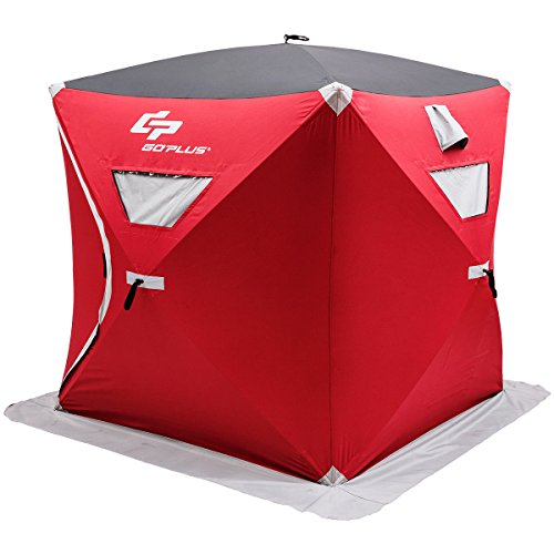 Goplus 3 Person Portable Ice Shelter Pop-up Ice Fishing Tent Shanty w/Bag and Ice Anchors Red (3 Person)