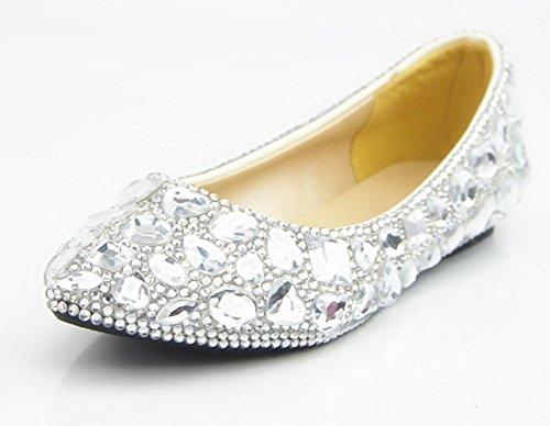 CSDM DONNE Scarpe da sposa Scarpe di cristallo pieno di pietra preziosa bianca scarpe di abito da sposa scarpe piane fatte a mano , flat reservation , 35