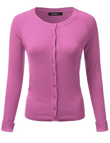 J.TOMSON Women's Basic Long Sleeve Round Neck Button Up Knit Cardigan HOTPINK XL