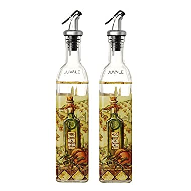 Olive Oil and Vinegar Dispensers - Oil and Vinegar Bottles with Lever Release Pourer, 2-Pack 16 Ounce Cruets