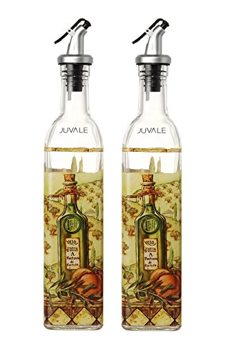 Oil and Vinegar Dispensers Salad Dressing Cruet Glass Bottle 2 Piece Set - With Lever Release Pourer -16 oz by Juvale