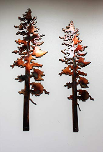 (Two Pine Trees Metal Wall Art Decor 10