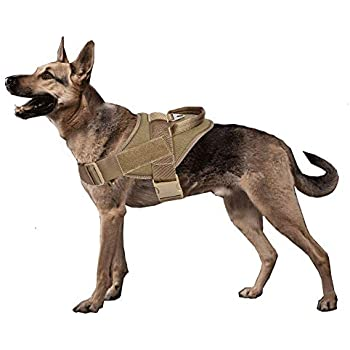 yisibo Service Dog Vest Harness No-Pull Nylon K9 Patrol Military Training Dog Vest with Handle(L(27-35