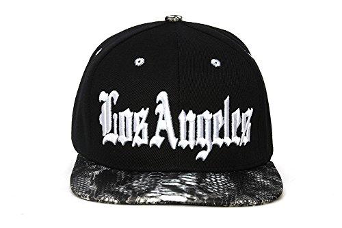 (City Black/Snakeskin Olde English Adjustable Baseball Cap - Los Angeles)
