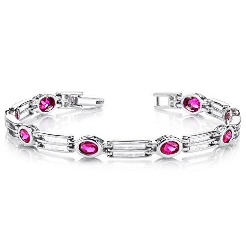 val Shape Created Ruby Gemstone Bracelet in Sterling Silver Rhodium Nickel Finish (Cheerleading Sterling Silver Bracelets)