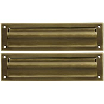 Solid Brass Magazine Size Mail Slot with Closed Backplate Antique Brass.