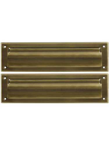 Solid Brass Magazine Size Mail Slot With Closed Backplate Antique Brass. - Magazine Mail Slot